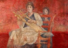 Painting of a seated woman playing a kithara